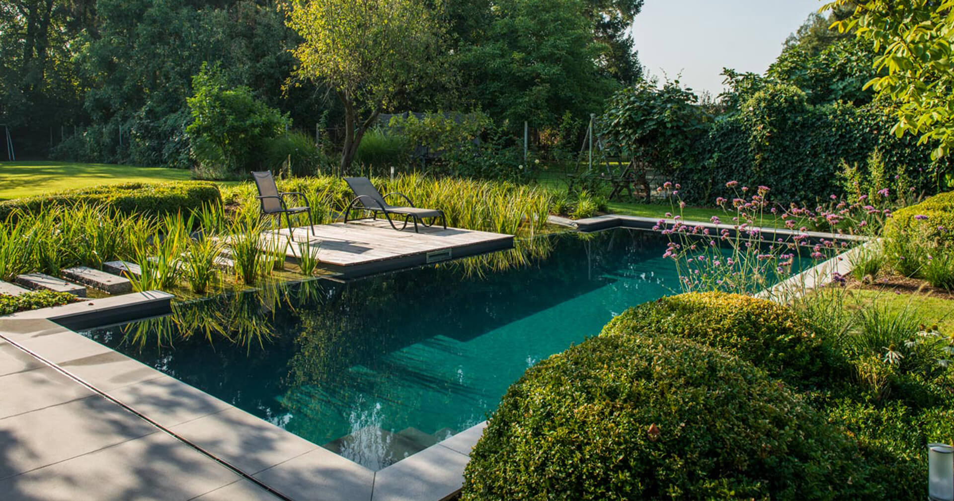 Biotop natuurzwembad met helder water en ligstoelen