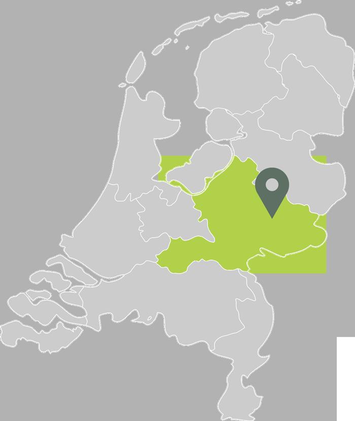 Kaart van Nederland met de locatie van Luijendijk Hoveniers in Zutphen
